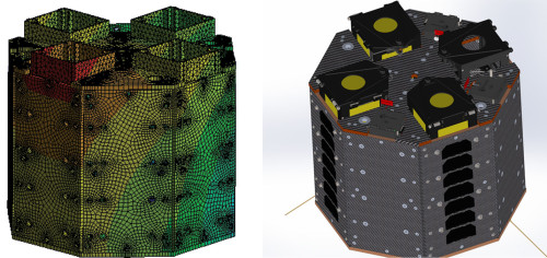 Render and analysis output of satellites' structures