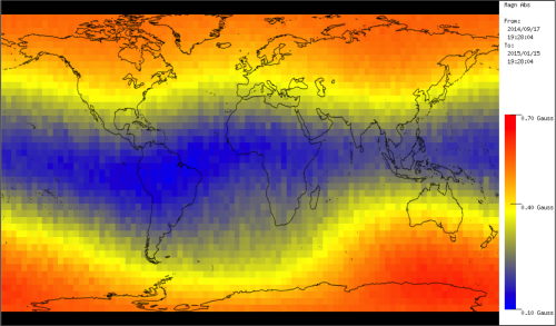 Image of Earth's magnetic field as measured by UniSat-6
