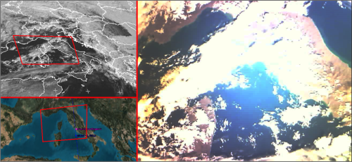 UniSat6 Image adquisition of Italy (right), compared to a meteosat picture simultaneously (top left) and satellite position during picture adquisition (low left).