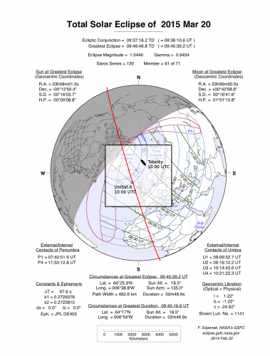 Solar eclipse March 2015 - Highlighted the position of UniSat-6 and the totality © Eclipse map courtesy of Fred Espenak, NASA/Goddard Space Flight Center