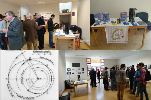 "Attendees at the ""Spaceflight Dynamics and Control"" Workshop, GAUSS stand and a drawing of Crocco mission."
