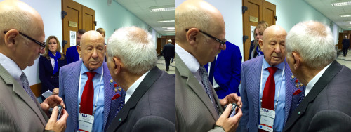 Vladislav Solovey and Filippo Graziani (GAUSS Srl) with the famous Russian cosmonaut Alexey Leonov (in the middle)