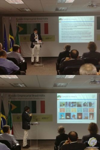Riccardo Di Roberto from GAUSS giving a presentation at the Industrial Brokerage Workshop – Parque Tecnológico – São José dos Campos