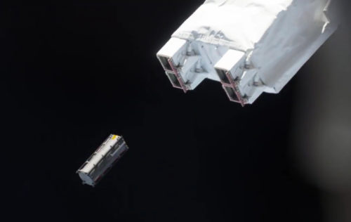 TuPOD just released from the robotic arm of the ISS - Photo Credit ISS