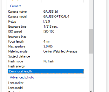 EXIF Properties of the first image downloaded from the OPT1 Camera System